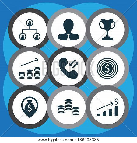 Set Of 9 Management Icons. Includes Cellular Data, Business Goal, Manager And Other Symbols. Beautiful Design Elements.