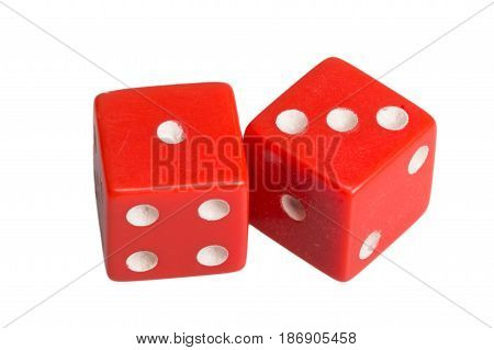 Two dice showing one and three, on white background.