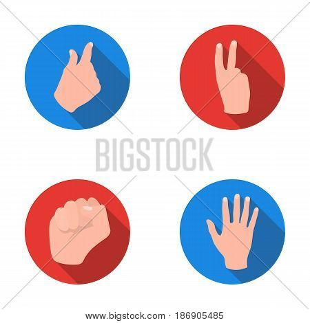 Open fist, victory, miser. Hand gesture set collection icons in flat style vector symbol stock illustration .