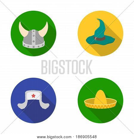 Sombrero, hat with ear-flaps, helmet of the viking.Hats set collection icons in flat style vector symbol stock illustration .