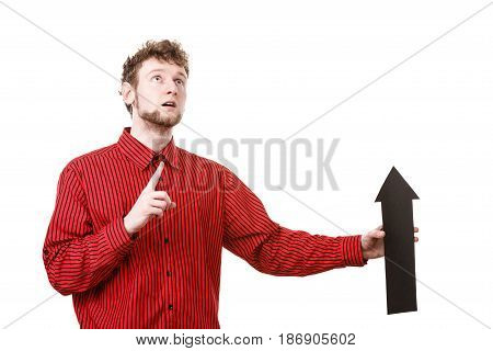 Man With Arrow Sign Show Right Direction.