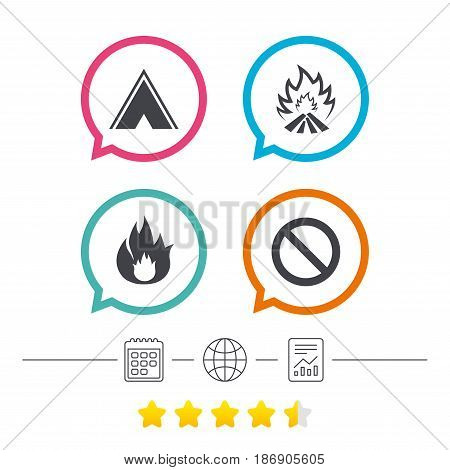 Tourist camping tent icon. Fire flame and stop prohibition sign symbols. Calendar, internet globe and report linear icons. Star vote ranking. Vector