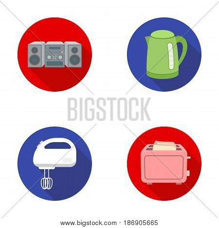 Electric kettle, music center, mixer, toaster.Household set collection icons in flat style vector symbol stock illustration .