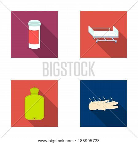 Heating pad, hospital gurney, acupuncture.Mtdicine set collection icons in flat style vector symbol stock illustration .