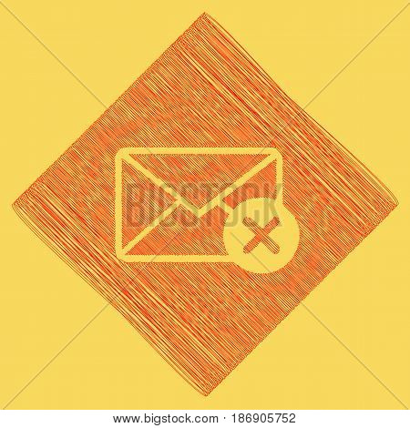Mail sign illustration with cancel mark. Vector. Red scribble icon obtained as a result of subtraction rhomb and path. Royal yellow background.