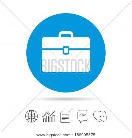 Case sign icon. Briefcase button. Copy files, chat speech bubble and chart web icons. Vector
