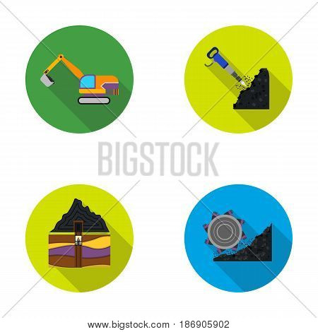 Excavator, tunnel, elevator, coal harvester and other equipment.Mine set collection icons in flat style vector symbol stock illustration .
