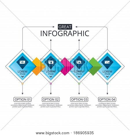 Infographic flowchart template. Business diagram with options. Businessman case icons. Currency with coins sign symbols. Timeline steps. Vector