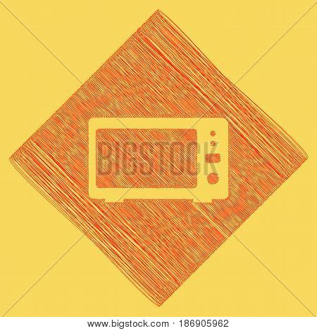 Microwave sign illustration. Vector. Red scribble icon obtained as a result of subtraction rhomb and path. Royal yellow background.