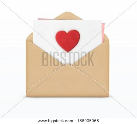 Vector illustration of love letter concept with open envelope and white paper with big red heart