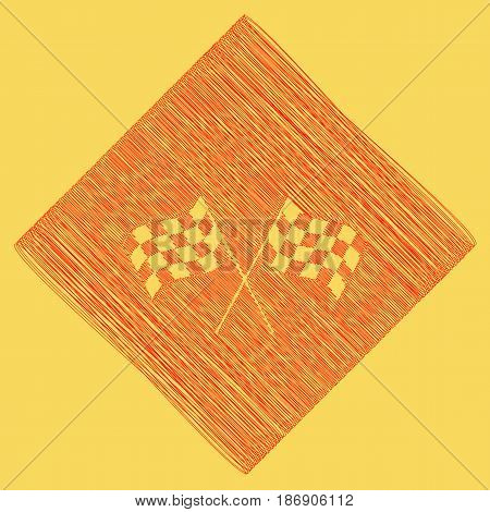 Crossed checkered flags logo waving in the wind conceptual of motor sport. Vector. Red scribble icon obtained as a result of subtraction rhomb and path. Royal yellow background.