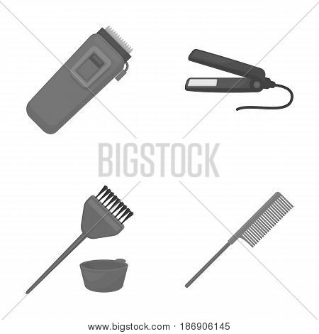 Trim, hair coloring, comb, straightener. Hairdresser set collection icons in monochrome style vector symbol stock illustration .