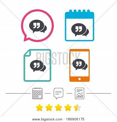 Chat Quote sign icon. Quotation mark symbol. Double quotes at the end of words. Calendar, chat speech bubble and report linear icons. Star vote ranking. Vector