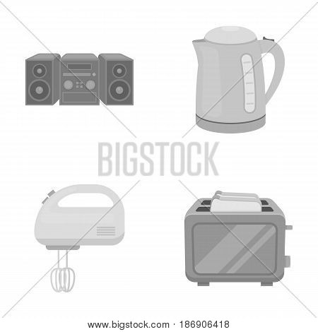Electric kettle, music center, mixer, toaster.Household set collection icons in monochrome style vector symbol stock illustration .