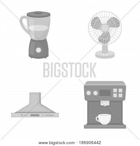 Blender, extractor and other equipment.Household set collection icons in monochrome style vector symbol stock illustration .