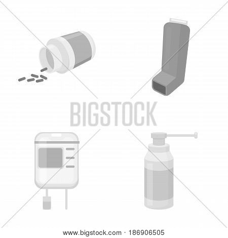 Tablets, inhaler, container with blood, spray.Medicine set collection icons in monochrome style vector symbol stock illustration .