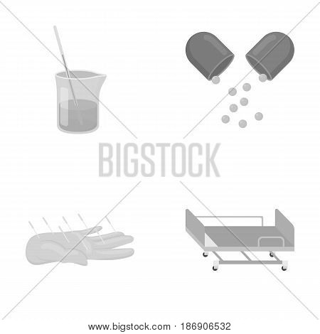 Solution, tablet, acupuncture, hospital gurney.Medicine set collection icons in monochrome style vector symbol stock illustration .