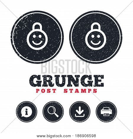 Grunge post stamps. Child lock icon. Locker with smile symbol. Child protection. Information, download and printer signs. Aged texture web buttons. Vector