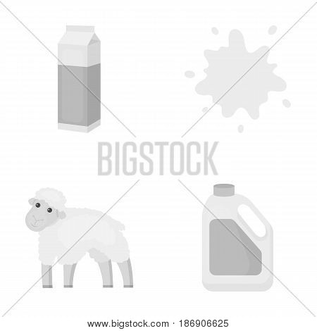 Billet pack, sheep.blue, canister.Moloko set collection icons in monochrome style vector symbol stock illustration .