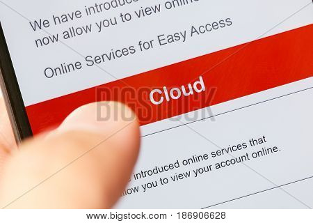 smartphone touch screen with red button cloud. business e-commerce concept.