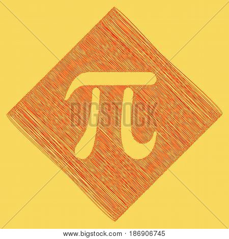 Pi greek letter sign. Vector. Red scribble icon obtained as a result of subtraction rhomb and path. Royal yellow background.