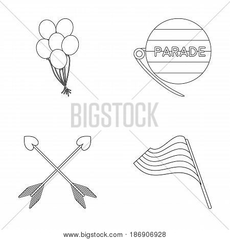Balls, gay parade, arrows, flag. Gayset collection icons in outline style vector symbol stock illustration .