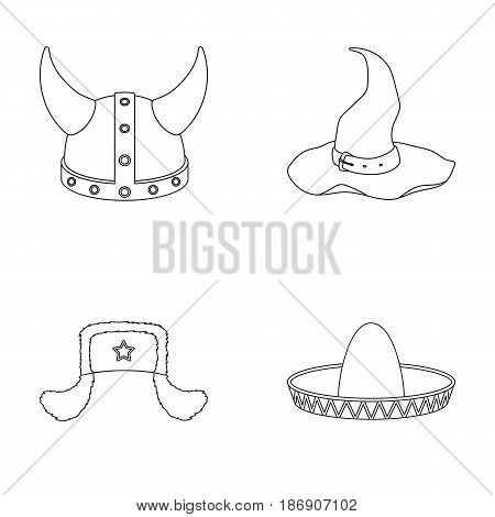Sombrero, hat with ear-flaps, helmet of the viking.Hats set collection icons in outline style vector symbol stock illustration .