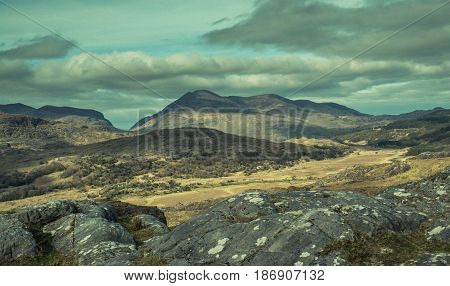 View of mountains along the Ring of Kerry road,  Killarney National Park, Ireland