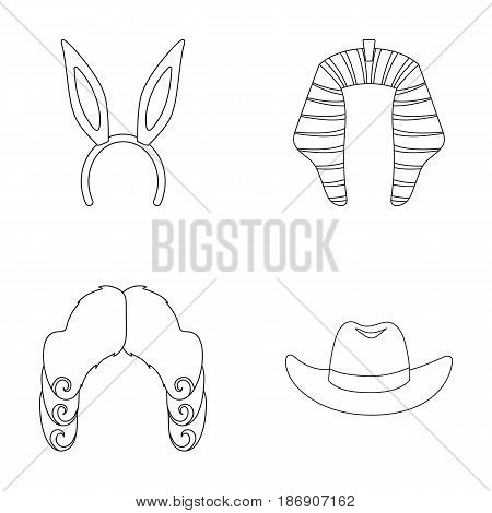 Rabbit ears, judge wig, cowboy. Hats set collection icons in outline style vector symbol stock illustration .