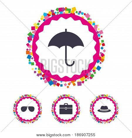 Web buttons with confetti pieces. Clothing accessories icons. Umbrella and sunglasses signs. Headdress hat with business case symbols. Bright stylish design. Vector