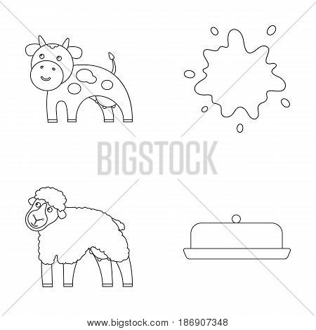 Cow, sheep, a drop of milk, butter. Milk set collection icons in outline style vector symbol stock illustration .