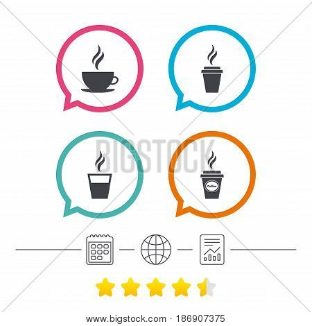 Coffee cup icon. Hot drinks glasses symbols. Take away or take-out tea beverage signs. Calendar, internet globe and report linear icons. Star vote ranking. Vector