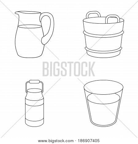 A can, a glass, a jug, a tub. Moloko set collection icons in outline style vector symbol stock illustration .