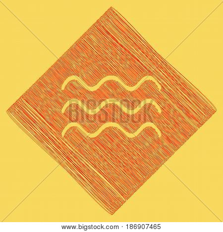 Waves sign illustration. Vector. Red scribble icon obtained as a result of subtraction rhomb and path. Royal yellow background.