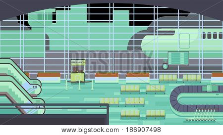 A spacious airport with luggage illustration rasterized