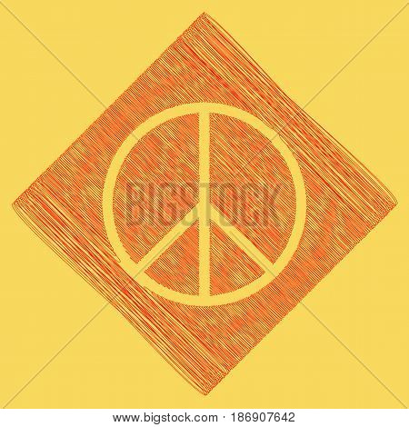 Peace sign illustration. Vector. Red scribble icon obtained as a result of subtraction rhomb and path. Royal yellow background.