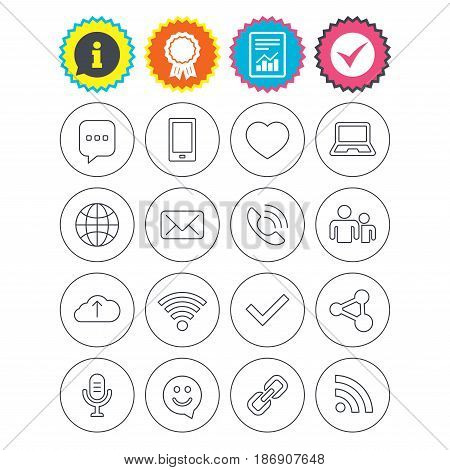Report, information and award signs. Communication icons. Smartphone, laptop and speech bubble symbols. Wi-fi and Rss. Online love dating, mail and globe thin outline signs. Check tick symbol. Vector