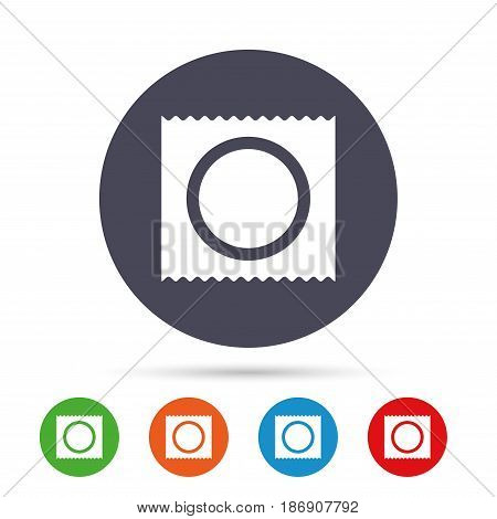 Condom in package safe sex sign icon. Safe love symbol. Round colourful buttons with flat icons. Vector