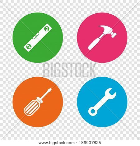 Screwdriver and wrench key tool icons. Bubble level and hammer sign symbols. Round buttons on transparent background. Vector