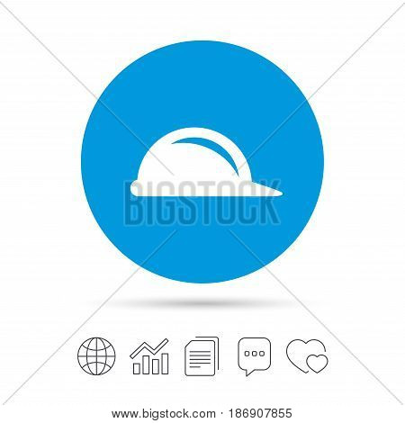 Hard hat sign icon. Construction helmet symbol. Copy files, chat speech bubble and chart web icons. Vector