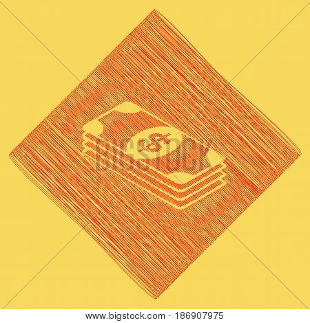 Bank Note dollar sign. Vector. Red scribble icon obtained as a result of subtraction rhomb and path. Royal yellow background.