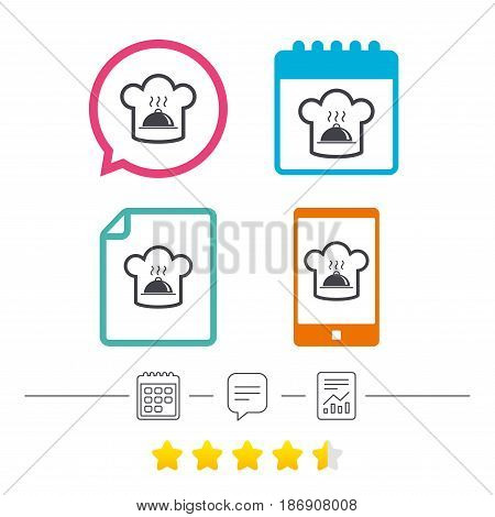 Chef hat sign icon. Cooking symbol. Cooks hat with hot dish. Calendar, chat speech bubble and report linear icons. Star vote ranking. Vector