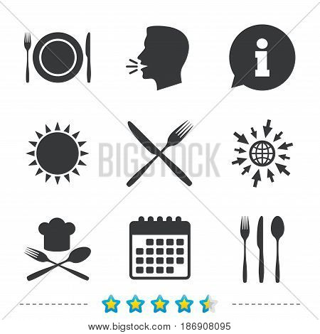 Plate dish with forks and knifes icons. Chief hat sign. Crosswise cutlery symbol. Dining etiquette. Information, go to web and calendar icons. Sun and loud speak symbol. Vector