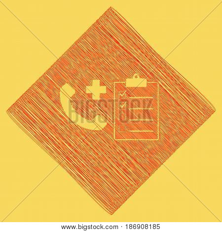 Medical consultation sign. Vector. Red scribble icon obtained as a result of subtraction rhomb and path. Royal yellow background.