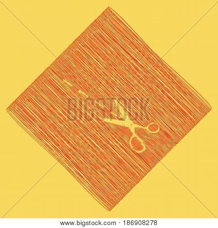 Scissors sign illustration. Vector. Red scribble icon obtained as a result of subtraction rhomb and path. Royal yellow background.