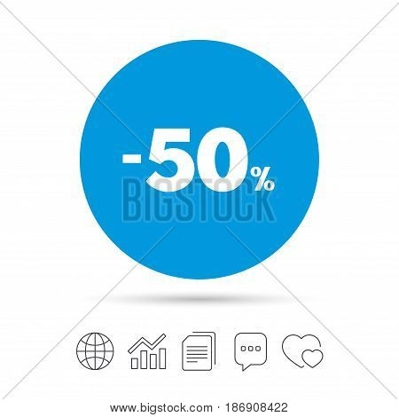 50 percent discount sign icon. Sale symbol. Special offer label. Copy files, chat speech bubble and chart web icons. Vector