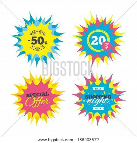 Shopping offers, special offer banners. 50 percent discount sign icon. Sale symbol. Special offer label. Discount star label. Vector
