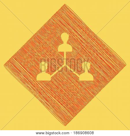 Social media marketing sign. Vector. Red scribble icon obtained as a result of subtraction rhomb and path. Royal yellow background.