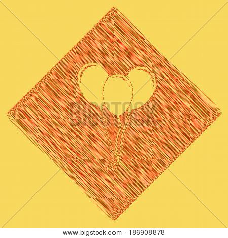 Balloons set sign. Vector. Red scribble icon obtained as a result of subtraction rhomb and path. Royal yellow background.