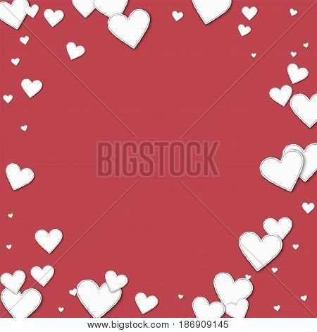 Cutout Paper Hearts. Bordered Frame On Crimson Background. Vector Illustration.